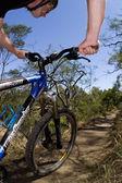 Riding a mountain bike — Stock Photo