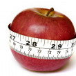 Apple with a measuring tape — Stock Photo