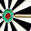 Stock Photo: Dart hitting bulls eye.