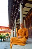 Buddhist  Monk Meditates — Stock Photo