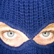 Stock photograph of attractive womwearing balaclava. — Stock Photo #37323975