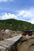 Wooden jetty on Koh Tao,Thailand — Stock fotografie