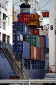 Cargo ships at harbor — Stock Photo