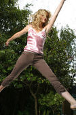 Woman exercises — Stock Photo