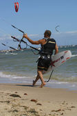 View of young windsurfer — Stock Photo