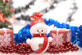 Snowman and tinsel — Foto de Stock