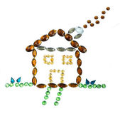 Cottage made with stones jewelry — Stock Photo