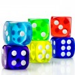 Color dice transparent — Stock Photo