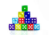 Stack of color dice — Foto de Stock