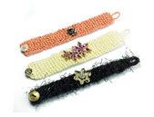 Wool bracelets handmade jewelry detail — Stock Photo
