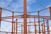 The empty natural gas tank towers in Bolton, England. — Stock fotografie