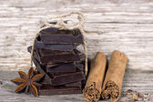 Pieces of dark chocolate — Stock Photo