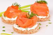 Sandwich with smoked salmon   — Stock Photo