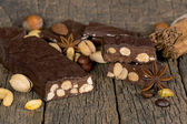 Dark chocolate with nuts  — Stock Photo