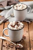 Varm choklad med marshmallows i två emaljerade tenn muggar — Stockfoto