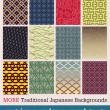 Traditional Japanese patterns — Stock Vector