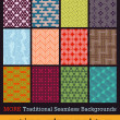 Traditional Japanese seamless patterns — Stock Vector