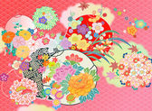 Floral montage from vintage Japanese kimono designs — Stock Vector