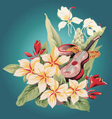 Tropical flowers and ukulele — Stock Vector