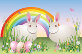 Rabbits, eggs, flowers, butterflies, and a rainbow — Stock Vector