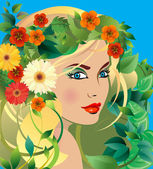 Young woman with wreath of leaves and flowers — Stock Vector