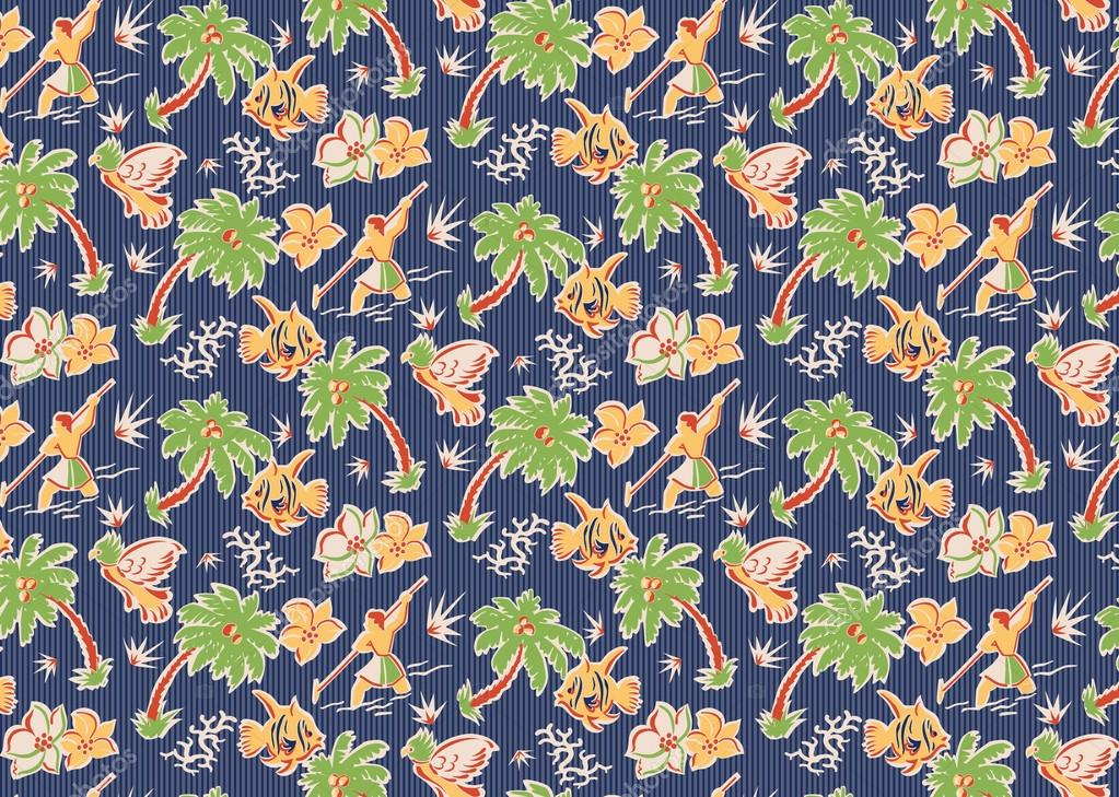 Fabric Flowers Pattern Vintage Tropical Fabric Pattern With Parrots Fish Flowers Spear Fishermen