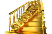 The stairs of gold labeled Success — Stock Photo