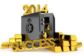 Success inscription and safe environment in gold bullion — Stock Photo