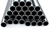 Metal tubes on whitre background — Stock Photo