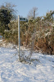 Footpath Sign in the Snow — Stock Photo