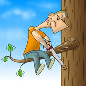 Man sawed branch — Stockfoto