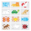 Set of vector pixel sketch animals — Stock Vector #37199217