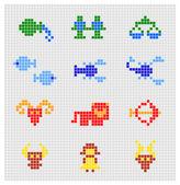 Vector set of pixel zodiac signs — Stock Vector