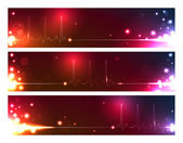 Set of vector cardiogram banners — Stock Vector