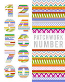 Vector numbers in patchwork style — Stock Vector