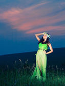 Portrait of a beautiful young woman on background of sunset — Stock Photo