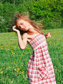 beautiful young woman outdoors — Stok fotoğraf