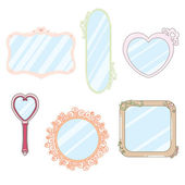 6 Cute Kawaii Mirrors — Stock Vector