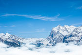 Snow Mountain Range Landscape with Blue Sky from Jungfrau Region — Stock fotografie