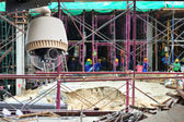 CCTV or surveillance operating in construction site — Stock Photo