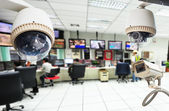 CCTV and security room background — Stock Photo