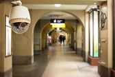 CCTV operating in walkway of shops under building — Stock Photo