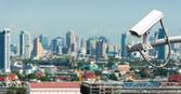 央视或监视与背景下的城市经营 — 图库照片
