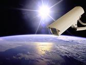 CCTV Exploring earth with sun light, Globe image from Nasa.gov — Stock Photo