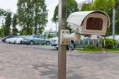 Telecamera cctv o sorveglianza operano in garage o parcheggio — Foto Stock
