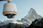 CCTV Camera or surveillance orperating with Matterhorn snow moun — Stock Photo