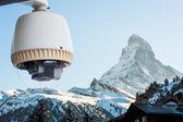 CCTV Camera or surveillance orperating with Matterhorn snow moun — Stock Photo