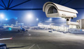 CCTV camera or surveillance operating in air port run way — Stock Photo