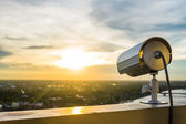 CCTV Camera or surveillance with sunlight — Stok fotoğraf