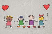 çizim çocuklar — Stok fotoğraf